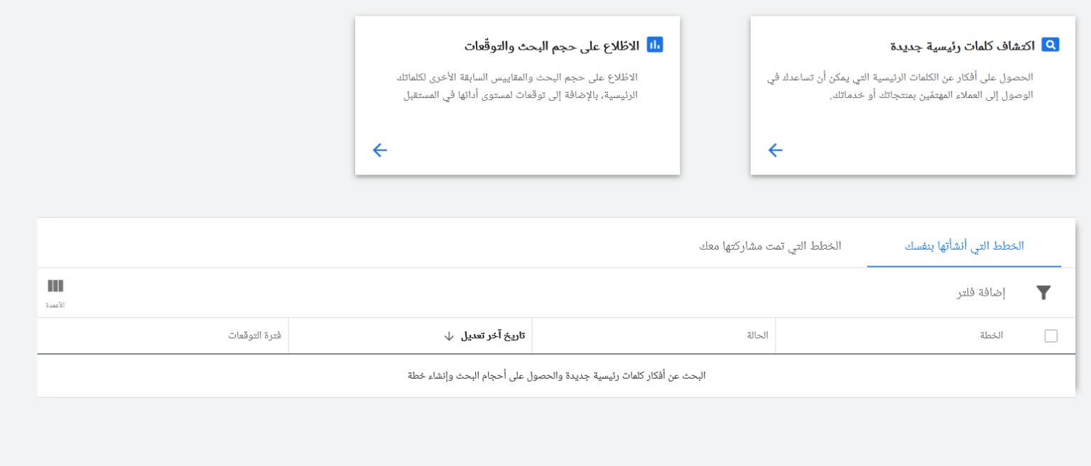 أداة جوجل لتحليل الكلمات المفتاحية