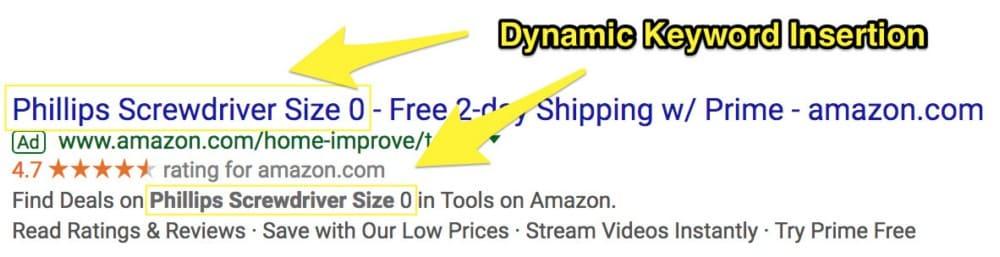 Keyword Dynamic Insertion